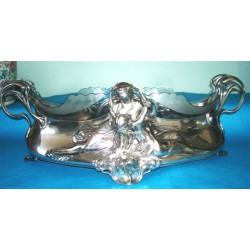 Antique WMF Lovers Centrepiece with original glass liner. Stamped marks (c.1905)
