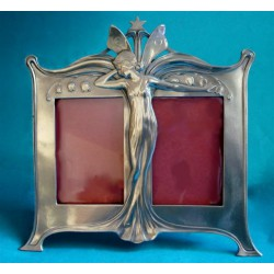 Antique WMF double photograph frame with winged maiden (c.1900)