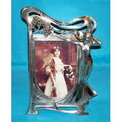 Antique WMF photograph frame with a female figure. Stamped marks (c.1900)