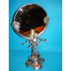 Antique German silver plated dressing table mirror. Unmarked (c.1900)