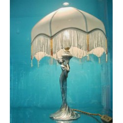 Antique WMF figural female table lamp with a modern beaded shade. Stamped marks (c.1900)