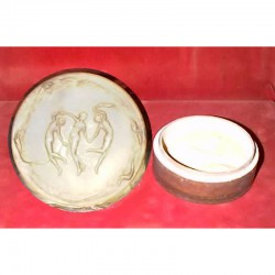 Lalique glass powder box Three Dancing Maidens with minor chip to inside of lid. Signed to base. Circa 1930