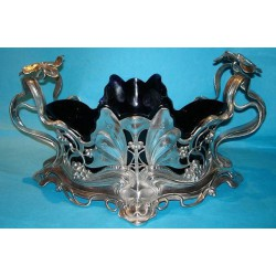 Antique WMF pewter butterfly centrepiece with original blue glass liner (c.1900)