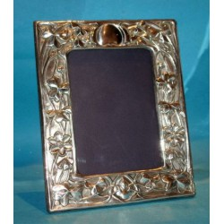 Antique silver Art Nouveau photo frame decorated with shamrocks. Hallmarked London 1904