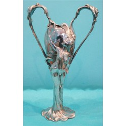 French Art Nouveau pewter vase embossed with flowing maidens to handles (c.1900)