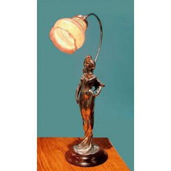 French Art Nouveau female figural lamp with Palme Koenig glass shade (c.1900)