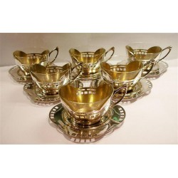 Argentor six Jugendstil tea holders with original glass liners. Stamped marks. Circa 1905