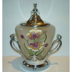 Antique WMF silver plated biscuit jar with original glass liner and enameled flowers (c.1905)