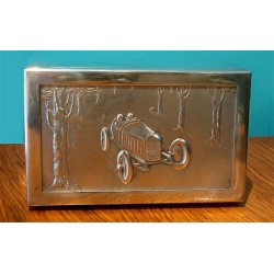 Argentor silver plated box with a motoring scene. Circa 1905