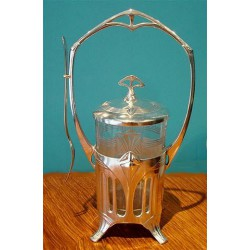 Antique WMF silver plated pickle or preserve jar with original glass liner and fork (c.1900)