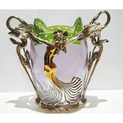 Art Nouveau German silver plated pewter Maiden and swans vase with original glass liner (c.1900)