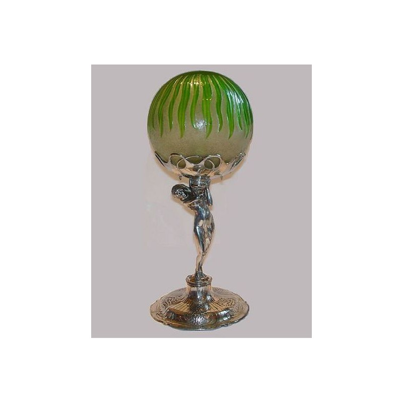 Antique Orivit pewter lamp with Loetz cameo glass shade (c.1900)