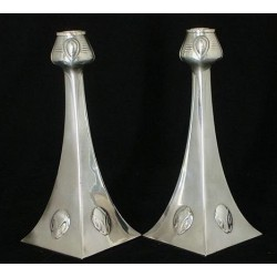 Antique WMF silver plated candlesticks designed by Albin Muller. Stamped marks. Circa 1905