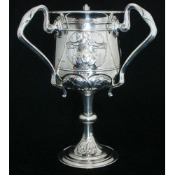 Joseph Rogers & Sons Art Nouveau silver three handled loving cup. Hallmarked Sheffield 1906